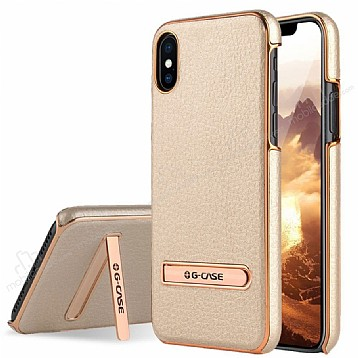 G-Case iPhone X Standlı Deri Gold Rubber Kılıf