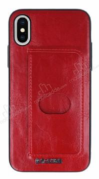 G-Case Majesty Series iPhone X Deri Kırmızı Rubber Kılıf
