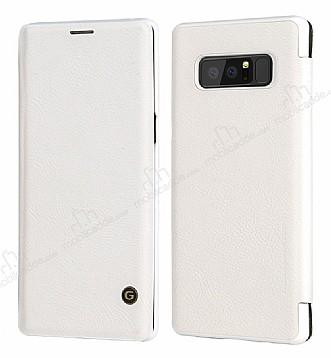G-Case Samsung Galaxy Note 8 Cüzdanlı İnce Yan Kapaklı Beyaz Deri Kılıf