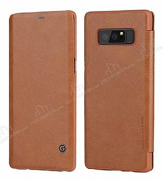 G-Case Samsung Galaxy Note 8 Cüzdanlı İnce Yan Kapaklı Kahverengi Deri Kılıf