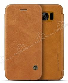 G-Case Samsung Galaxy S8 Cüzdanlı İnce Yan Kapaklı Kahverengi Deri Kılıf