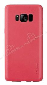 G-Case Samsung Galaxy S8 Plus Deri Görünümlü Kırmızı Rubber Kılıf