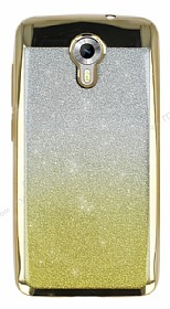 General Mobile Android One Simli Parlak Gold Silikon Kılıf