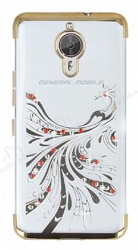 General Mobile GM 5 Plus Gold Peacock Taşlı Şeffaf Silikon Kılıf