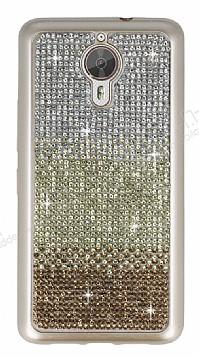 General Mobile GM 5 Plus Taşlı Geçişli Gold Silikon Kılıf