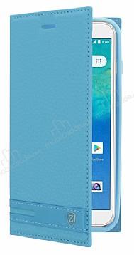 General Mobile GM 8 GO Gizli Mıknatıslı Yan Kapaklı Mavi Deri Kılıf