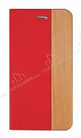 GOODEA iPhone 6 Plus / 6S Plus Ahşap Kapaklı Kırmızı Kılıf