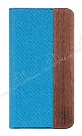 GOODEA iPhone 6 Plus / 6S Plus Ahşap Kapaklı Mavi Kılıf