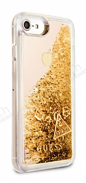 Guess Glitter iPhone 7 / 8 Simli Gold Silikon Kılıf