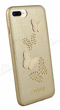 Guess iPhone 7 Plus / 8 Plus Kelebekli Gold Deri Kılıf