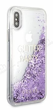 Guess Glitter iPhone X Simli Mor Silikon Kılıf