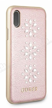 Guess iPhone X Taşlı Rose Gold Deri Kılıf