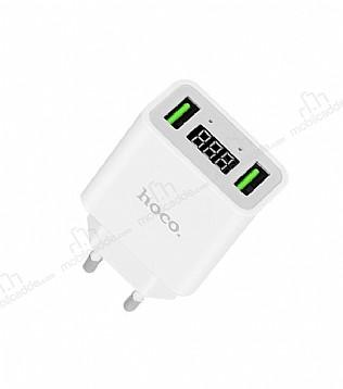 Hoco C25A Dijital Göstergeli Beyaz Ev Şarj Adaptörü