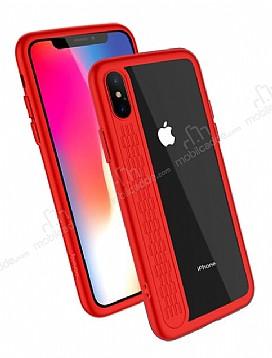 Hoco iPhone X / XS Kırmızı Silikon Kenarlı Şeffaf Rubber Kılıf