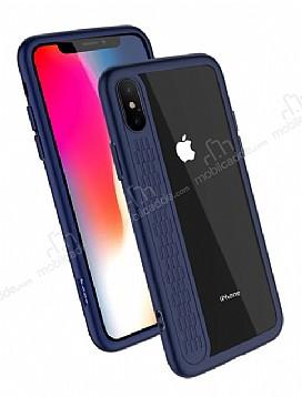 Hoco iPhone X Lacivert Silikon Kenarlı Şeffaf Rubber Kılıf