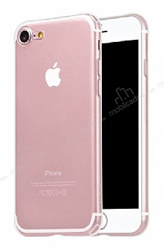 Hoco Light Series iPhone 7 / 8 Şeffaf Silikon Kılıf + Siyah Cam Ekran Koruyucu