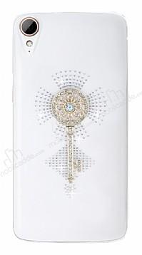 HTC Desire 828 Taşlı Anahtar Şeffaf Rubber Kılıf