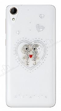 HTC Desire 728 Taşlı Love Şeffaf Silikon Kılıf