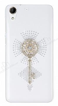 HTC Desire 728 Taşlı Anahtar Şeffaf Silikon Kılıf