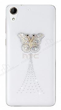 HTC Desire 728 Taşlı Kelebek Şeffaf Silikon Kılıf