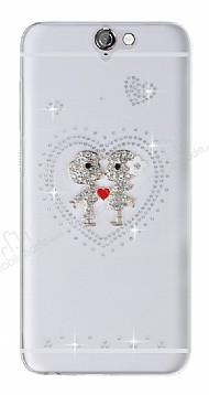 HTC One A9 Taşlı Love Şeffaf Silikon Kılıf
