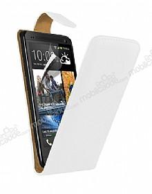 HTC One Dik Kapaklı Beyaz Deri Kılıf