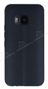 HTC One M9 Deri Desenli Ultra İnce Siyah Silikon Kılıf