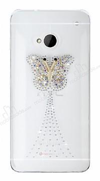 HTC One Taşlı Kelebek Şeffaf Rubber Kılıf