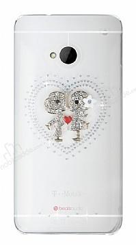 HTC One Taşlı Love Şeffaf Rubber Kılıf