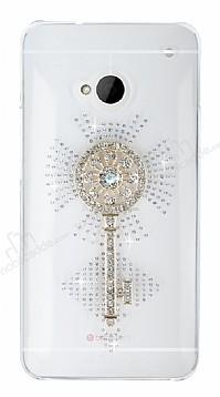 HTC One Taşlı Anahtar Şeffaf Rubber Kılıf