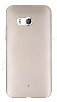 HTC U11 Tam Kenar Koruma Gold Rubber Kılıf