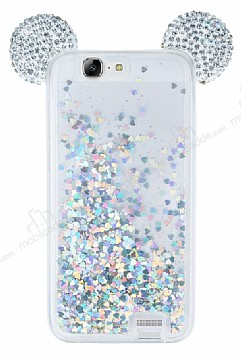 Huawei Ascend G7 Sulu Silver Taşlı Kulaklı Kılıf