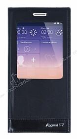 Huawei Ascend G7 Vantuzlu Pencereli Siyah Deri Kılıf