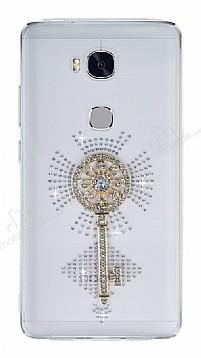 Huawei GR5 2017 Taşlı Anahtar Şeffaf Silikon Kılıf