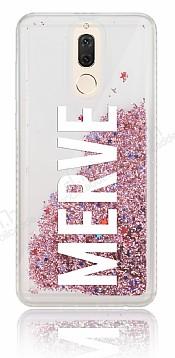 Huawei Mate 10 Lite Kişiye Özel Simli Sulu Rose Gold Rubber Kılıf