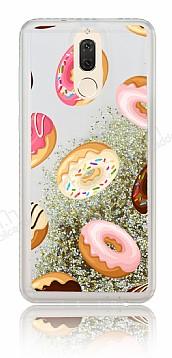 Huawei Mate 10 Lite Simli Sulu Donut Resimli Gold Silikon Kılıf