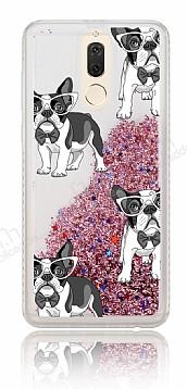 Huawei Mate 10 Lite Simli Sulu Köpekli Resimli Rose Gold Silikon Kılıf