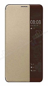 Huawei Mate 10 Pro Uyku Modlu İnce Yan Kapaklı Gold Kılıf