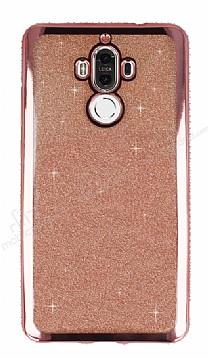 Huawei Mate 9 Taşlı Kenarlı Simli Rose Gold Silikon Kılıf
