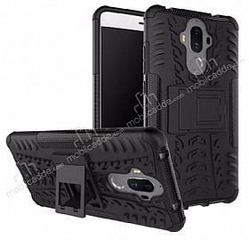 Huawei Mate 9 Ultra Süper Koruma Standlı Siyah Kılıf