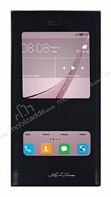 Huawei Nova Gizli Mıknatıslı Çift Pencereli Siyah Deri Kılıf