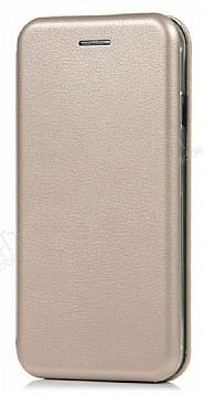Huawei P Smart Curve Manyetik Kapaklı Gold Deri Kılıf