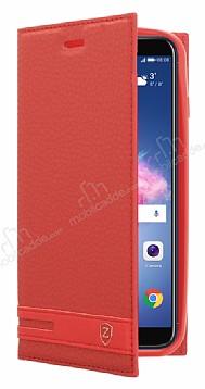 Huawei P Smart Gizli Mıknatıslı Yan Kapaklı Kırmızı Deri Kılıf