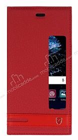 Huawei P10 Gizli Mıknatıslı Pencereli Kırmızı Deri Kılıf