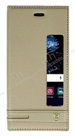 Huawei P10 Gizli Mıknatıslı Pencereli Gold Deri Kılıf