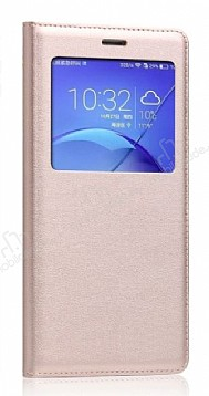 Huawei P10 Lite Pencereli İnce Kapaklı Gold Kılıf