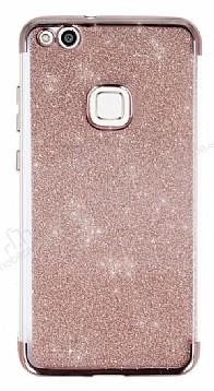 Huawei P10 Lite Simli Rose Gold Silikon Kılıf