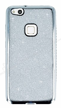 Huawei P10 Lite Taşlı Kenarlı Simli Silver Silikon Kılıf