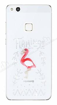 Huawei P10 Lite Taşlı Flamingo Şeffaf Silikon Kılıf