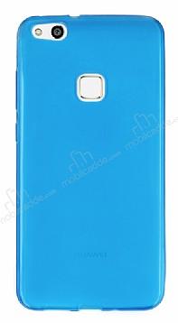 Huawei P10 Lite Ultra İnce Şeffaf Mavi Silikon Kılıf
